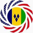 Saint Vincentian American Multinational Patriot Flag Series by Carbon-Fibre Media