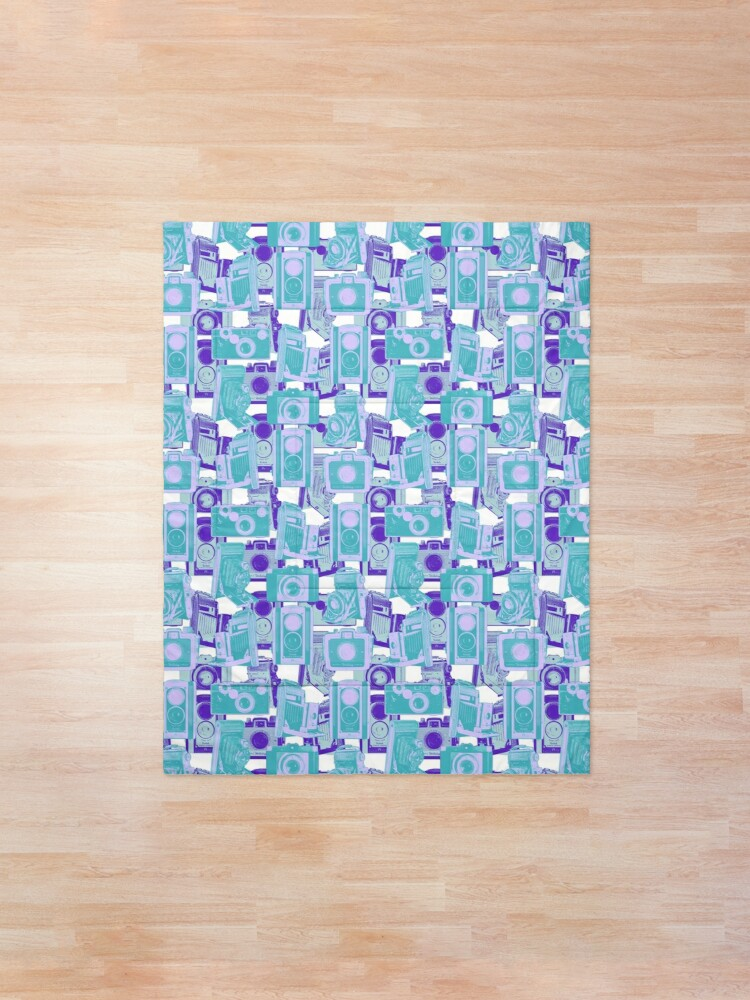 Alternate view of Vintage Camera Pattern in Turquoise and Blue Comforter