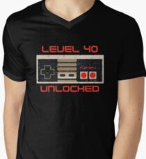 Video Game Birthday TShirt for Men & Women LEVEL 40 UNLOCKED V-Neck T-Shirt
