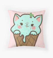 Mint Choco Chip Ice Cream Cat Throw Pillow