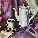 China and Silk: Still Life with a Teapot by Oleg Atbashian