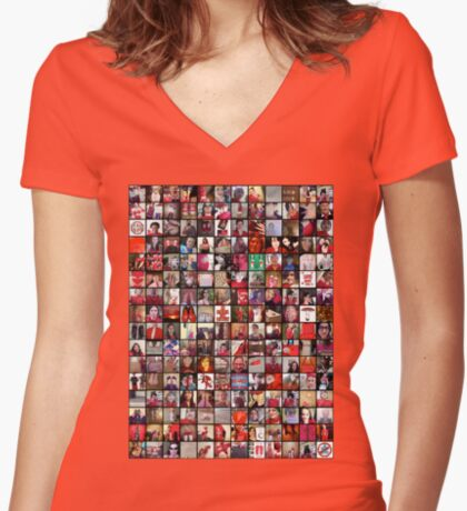 #WalkInRed2015 Collage C Women's Fitted V-Neck T-Shirt