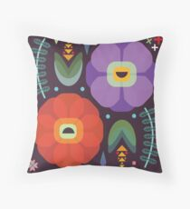 Flowerfully Folk Throw Pillow