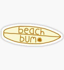 yellow surfboard beach bum sticker  Sticker