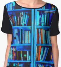 Blue Book Shelves Chiffon Top