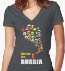 Trumpet World Cup 2018 Women's Fitted V-Neck T-Shirt