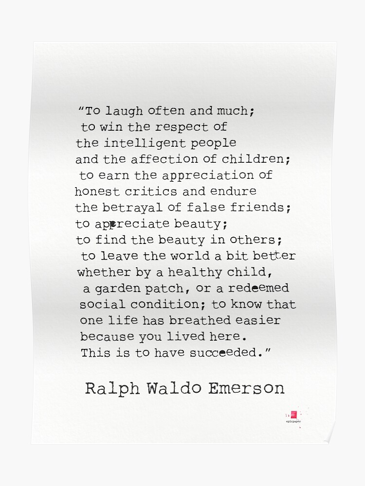 To Laugh Often And Much Ralph Waldo Emerson Quote Poster By