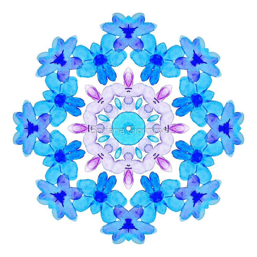 Blue Floral Watercolor Mandala by Boriana Giormova