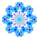 Blue Floral Watercolor Mandala by Boriana Giormova