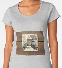 Bird Barbed Wire Fence Grasslands Collage Wood Frame Women's Premium T-Shirt