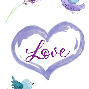 PURPLE LOVE  with birds - watercolor by almawad