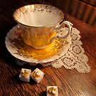 Gold Yellow White Traditional Teacup Saucer Sugar Bees Lace Photo by Jillian Crider