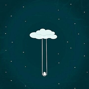 Cartoon Person Hanging On A Cloud Design by TheQuoteHouse
