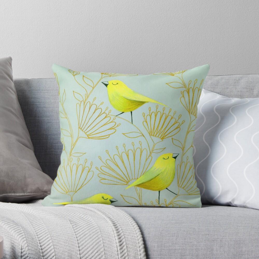 Golden birds Throw Pillow