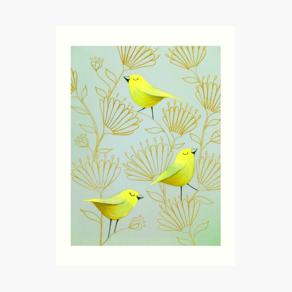 Golden birds Art Print