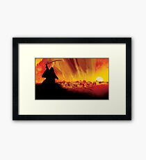 Lawrence of Arabia with Sword in Hand Looking as Death King, Sunset Inflamed Red Sun in background Framed Print