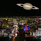 Saturn over the Las Vegas Strip by urbanphotos