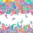 Rainbow Paisley Rain on White by micklyn