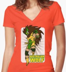 Australian Wolf Z Women's Fitted V-Neck T-Shirt