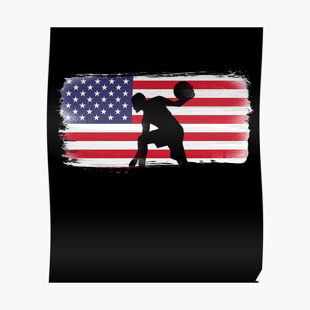 American Flag Basketball Player Poster