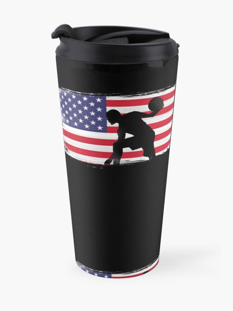 Alternate view of American Flag Basketball Player Travel Mug