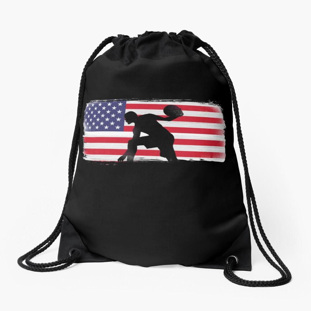 American Flag Basketball Player Drawstring Bag