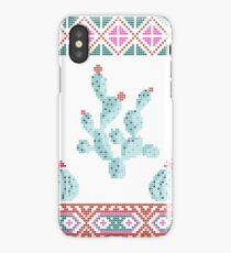Cactuses cacti cross stitch knitted print iPhone Case