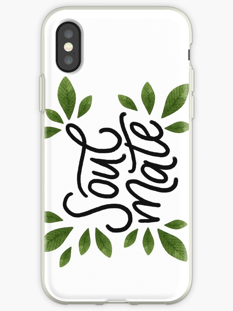 'Soulmate  Hand-lettering phrase with green watercolor leaves  ' iPhone  Case by helga-wigandt