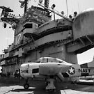 Warbird Up Top On The USS.Hornet BW by Gypsykiss