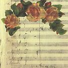 Digital Collage Old Music Sheet Vintage Halo Pink Roses by Jillian Crider