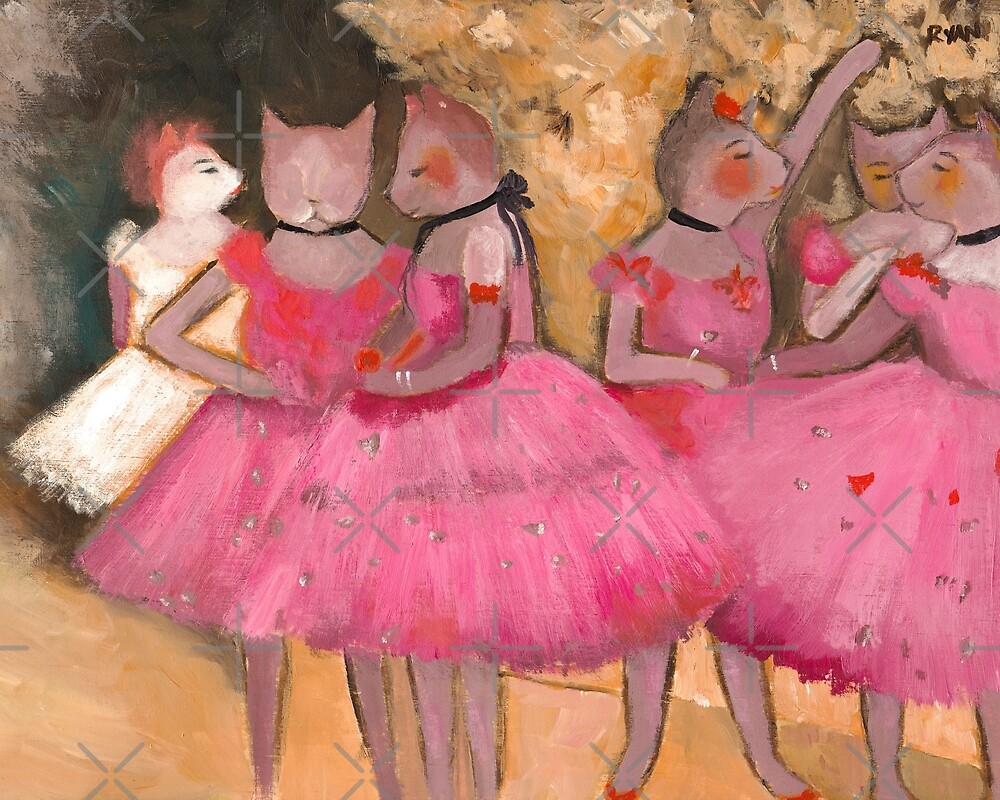 cat dancers in pink by ryan conners redbubble