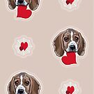 Beagles Galore with Love Hearts Design Pattern All Over by Jillian Crider