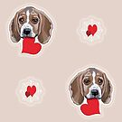 Beagles Galore with Love Hearts Tiled Pattern All Over by Jillian Crider
