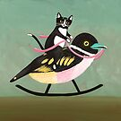 Tuxedo Cat on a Rocking Black-and-yellow Broadbill. by Ryan Conners