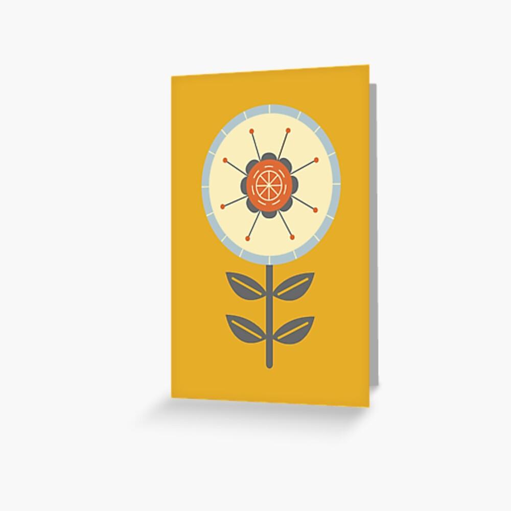 Retro Scandinavian Flower Design Greeting Card