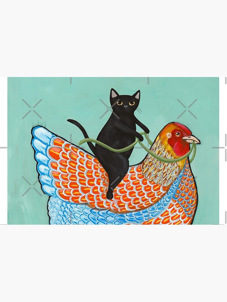 Chicken Ride Wyandotte and Black Cat by kilkennycat