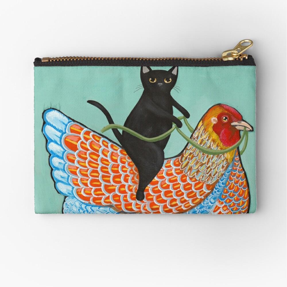 Chicken Ride Wyandotte and Black Cat Zipper Pouch