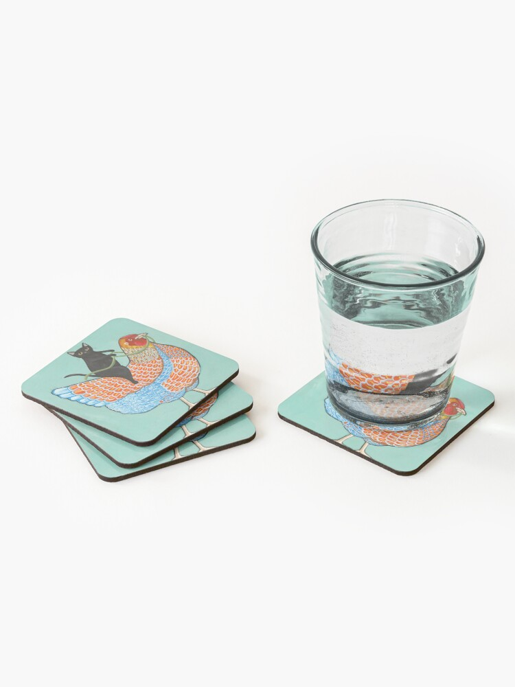 Alternate view of Chicken Ride Wyandotte and Black Cat Coasters (Set of 4)