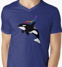 Rainbow orca Men's V-Neck T-Shirt