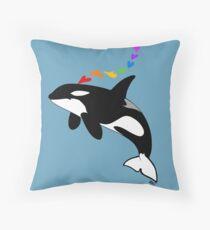 Rainbow orca Throw Pillow