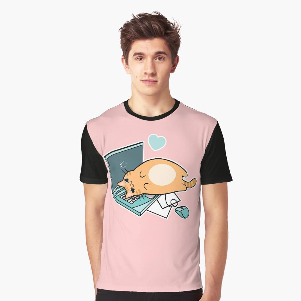 Nette Laptop-Katze Grafik T-Shirt