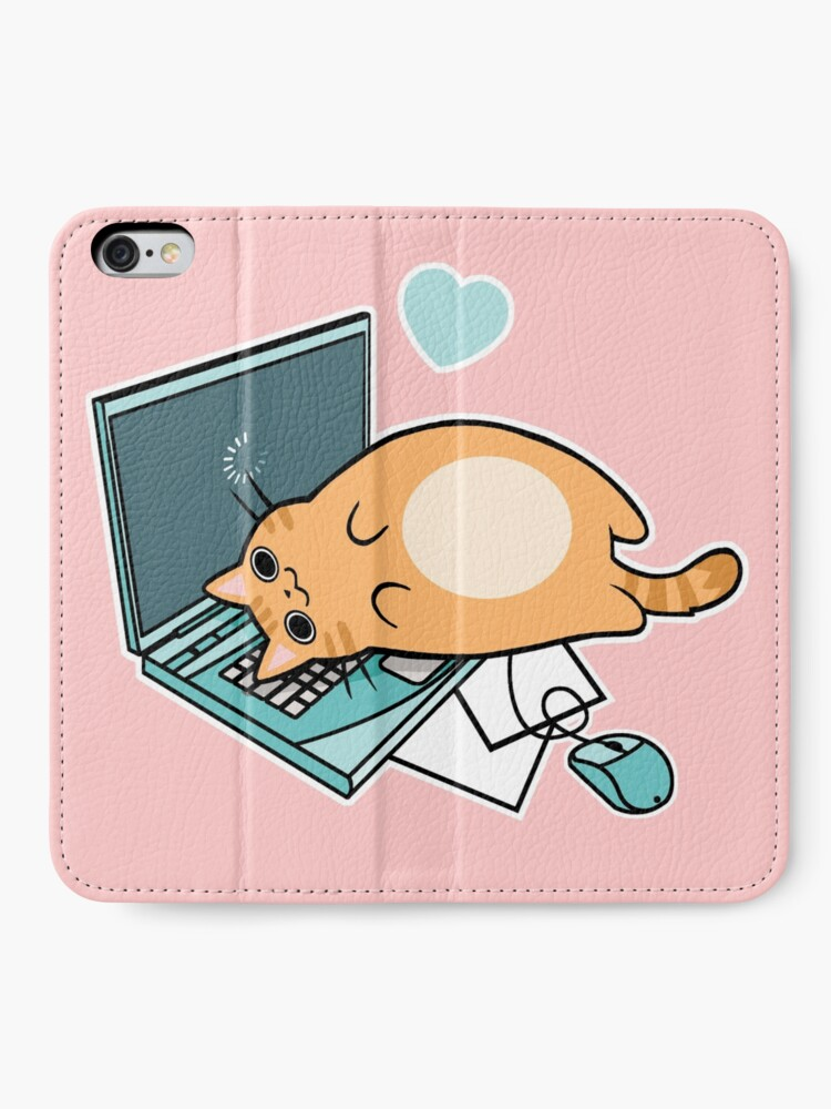 Alternative Ansicht von Nette Laptop-Katze iPhone Flip-Case