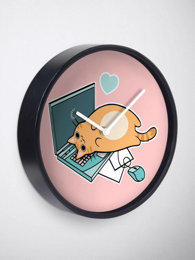 Alternative Ansicht von Nette Laptop-Katze Uhr