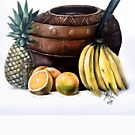 African pot and fruits by KEISIEN