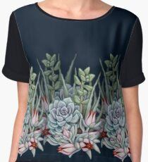 Midnight Succulents Chiffon Top