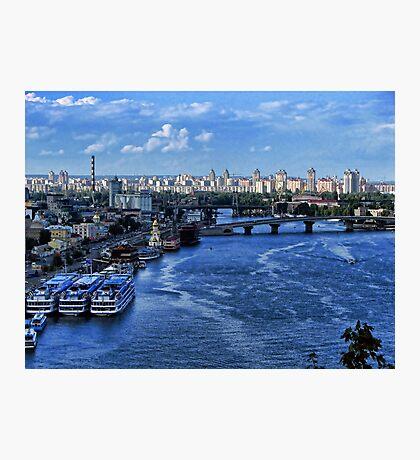 Kiev - view on River Port Photographic Print