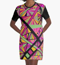 Psychadelic Taffy-colored Prism Print Graphic T-Shirt Dress