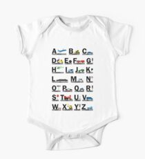 Planes, Trains, and Automobiles Alphabet Shirt - Structured One Piece - Short Sleeve