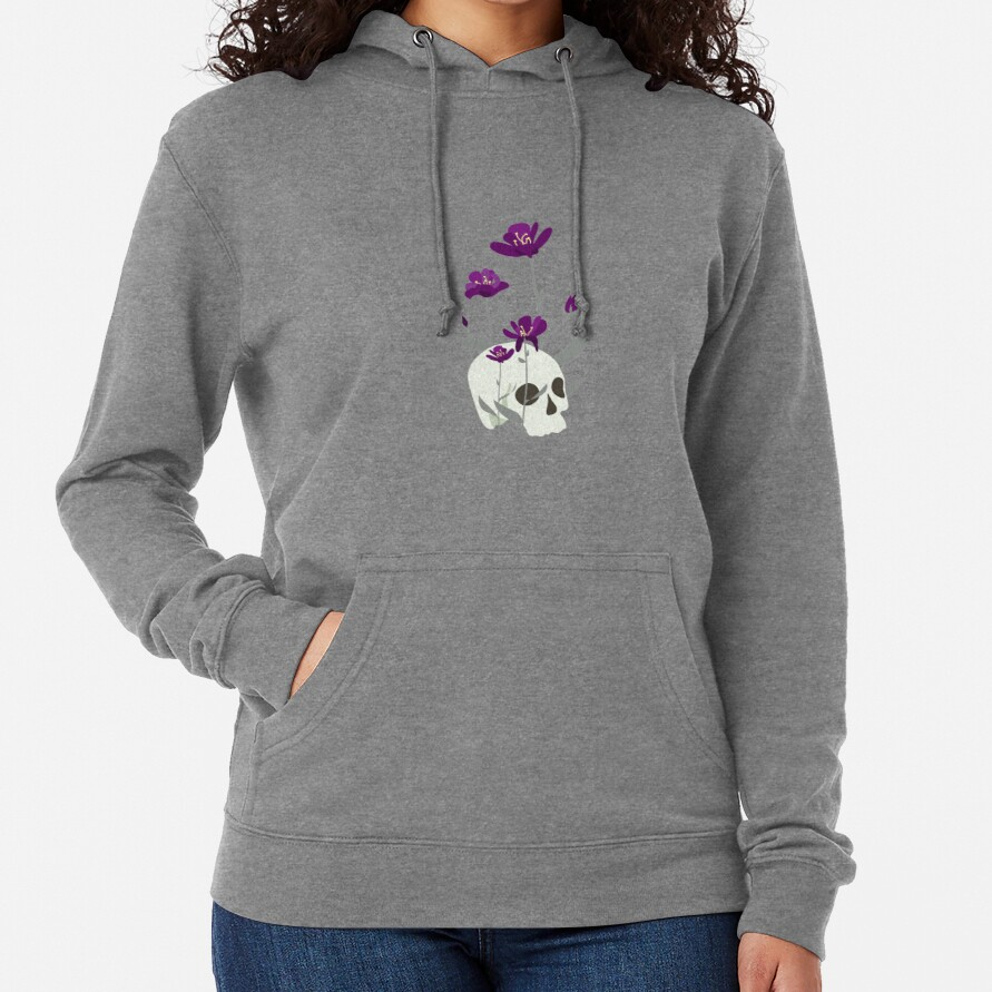 Skull with Flowers Lightweight Hoodie