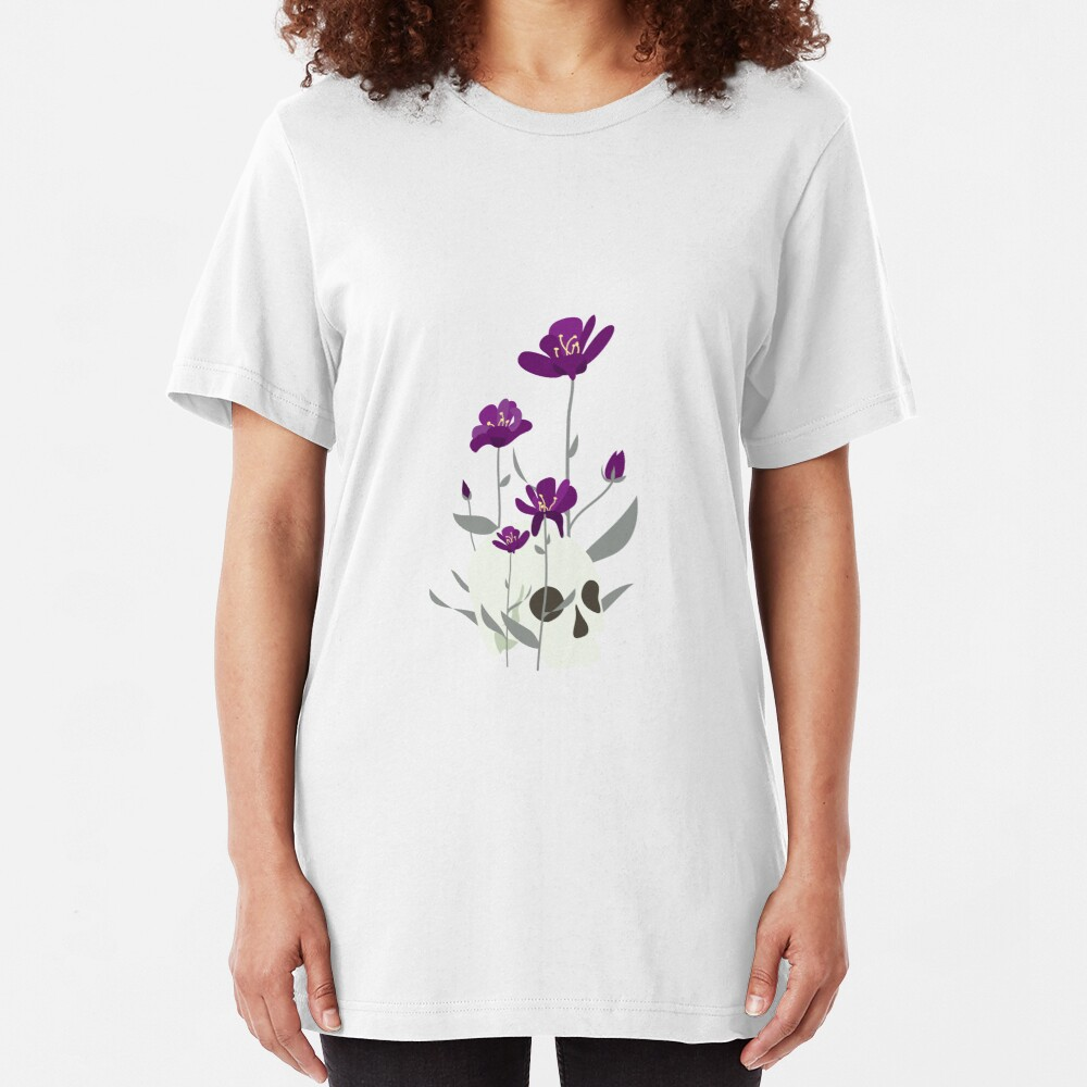 Skull with Flowers Slim Fit T-Shirt